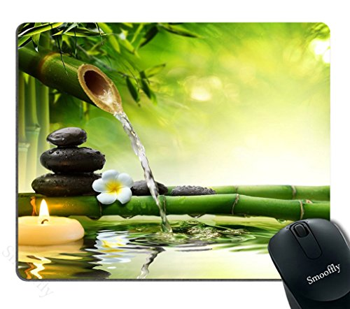 Smooffly Nature Gaming Mouse Pad,Spa Stones in Garden with Flow Water Mouse Pad Personality Desings Gaming Mouse Pad Zen Garden Theme Magical Jasmine Flower Japanese Design