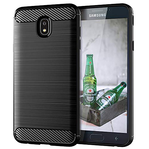 Galaxy J7 2018 Phone case,Galaxy J7 Refine/J7 V 2nd Gen/J7 Star/J7 Top/J7 Crown/J7 Aura Cases Shock Absorption Slim TPU Carbon Fiber Pattern Protective Case Cover for Samsung Galaxy J7 2018(Black)