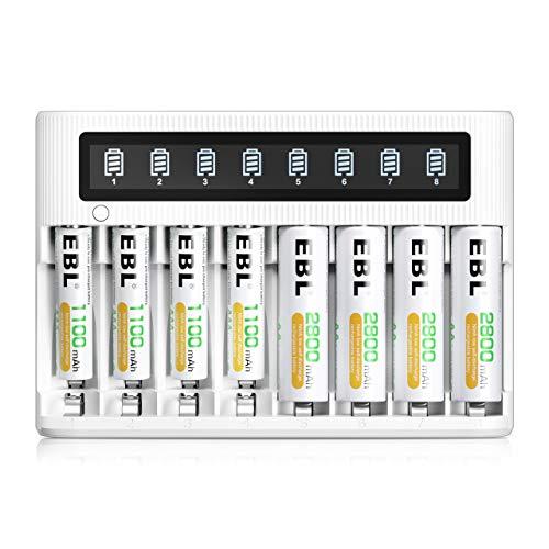 EBL LCD Chargeur de Piles Rapide- avec 4PCS AA 2800mAh et 4PCS AAA 1100mAh Piles Rechargeables, Charge Rapide 5V/2A, avec Fonction de Décharge