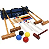 Longworth Croquet Set  4 Player UPGRADED Full Sized Adult Set in a Canvas Storage Bag from Big Game Hunters