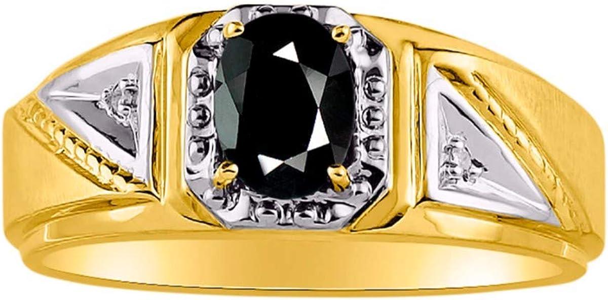 新品■送料無料■ RYLOS Mens Rings 14K Yellow 割り引き Gold 7X5MM Oval Gemstone Classic G