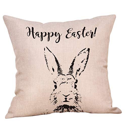 Covermason Ostern Deko Hase Eier Kissenbezug 45x45 cm, Kissenhülle aus Baumwolle und Leinen Zierkissenbezug für Sofa Café Bibliothek Buchladen