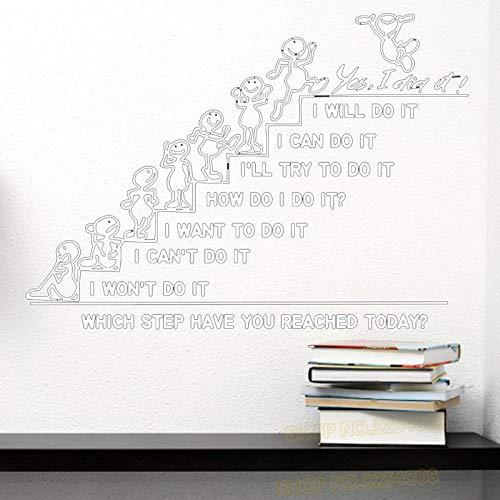 yiyiyaya Wandtattoos Zitat Welchen Schritt haben Sie Heute erreicht Decal Office Sticker Schlafzimmer Kinderzimmer Home Decor Art Murals weiß 57x81cm