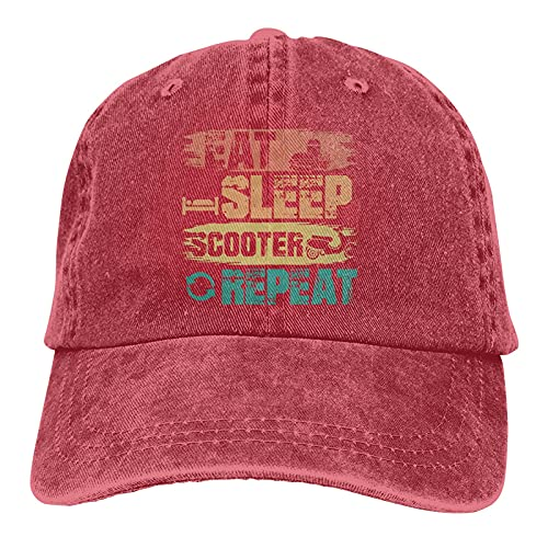 Gymini Eat Sleep Scooter Repeat Scooters Sombreros Algodón Lavable Gorras De Béisbol Ajustable Para Hombre Mujer Rojo