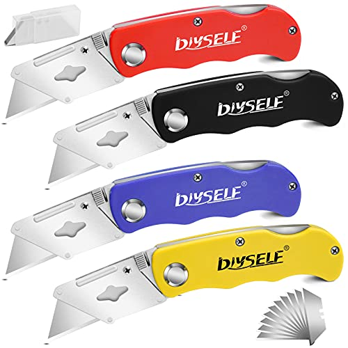 DIYSELF Knife 4 Pack Box Cutters, With 10 Box Cutter Blades, Razor Knife, with Belt Clip, Quick Change Blades, Lock Back Mechanism, Folding Utility Knife for Work, Cardboard, Boxes, Carpet (A)
