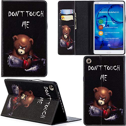 Ooboom Huawei MediaPad M5 8,4 Zoll Hülle PU Leder Tasche Schutzhülle Cover Hülle Wallet Brieftasche Stand für Huawei MediaPad M5 8,4 Zoll - Bär