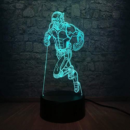 3D Illusion Lamp Night Light Hero Hero Lampadario Lampada Lampadina multicolore RGB Illuminazione decorativa Camera da letto Chlidren Giocattoli Apparecchio regalo