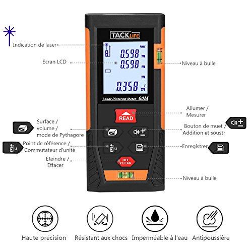 Télémètre Laser 60m, Tacklife Metre Laser, Ecart 1.5mm, Calcule Distance Surface Volume, Fonction Pythagore, Stocker 30 données, 2 Niveaux à Bulle, Fonction Muet, IP54, LCD Rétro-éclairage