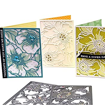 Layering Flower Background Die Cuts Set of 2 Design Frame Cutting Embossing Stencil for Card Making Scrapbooking 4.1x2.9inches Style A Set