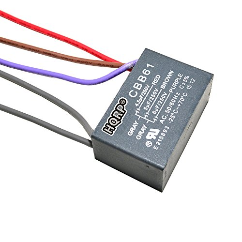 HQRP Capacitor compatible with Harbor Breeze Ceiling Fan 4.5uf+5uf+6uf 5-Wire
