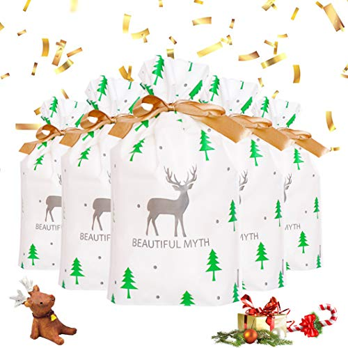 50 Stücke Weihnachten Geschenkbeutel,Geschenkverpackung Taschen,Süßigkeiten Taschen,Weihnachten Süßigkeiten Tüten,Geschenktüten Weihnachten mit Band&mit Kordelzug,Xmas Party Süßigkeiten Packung(A)