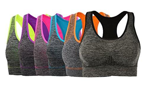 Women's Seamless Sports Bra Medium Impact Pocket Yoga Bras Pack of 6 4XL