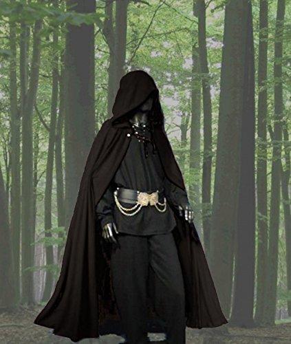 Dark Dreams Gothic Mittelalter LARP Langer Kapuzenumhang Cape Unisex Sinistra, Farbe:schwarz, Größe:freesize - 3