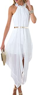 Women's Sheer Chiffon Folds Hi Low Loose Dress Delicate Gold Belt