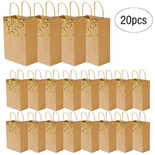 ZJW Bolso de Kraft con Bolsa de Regalo, Bolsos de Fiesta de Papel de 20 Piezas con asa para cumpleaños, para Bodas Celebraciones de Noche de Recuerdo (Dorado)
