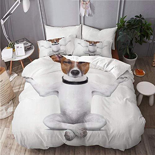 Juego de funda nórdica de 3 piezas de fácil cuidado y 2 fundas de almohada, amante de los perros, yoga, sentado relajado, ojos cerrados, meditación, estilo de vida, fitness, alegría, cómic, elegante f