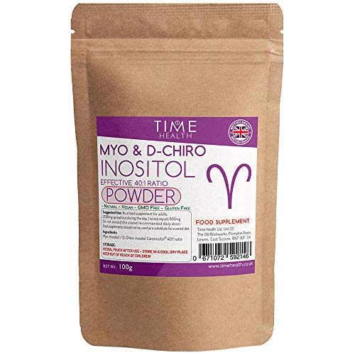 Myo & D Chiro Inositol Powder - Effective 40:1 Ratio - Supports Women with PCOS - Promotes Hormonal Balance & Normal Ovarian Function - Vegan - No Additives (100g Powder Pouch)