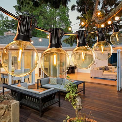 30M Catene Luminose LED G40 Luci a Festone per Esterni Lampadine Plastica Infrangibili, Impermeabili IP45 con 1W 50+2 Lampadine per Giardino Esterno, Veranda, Cortile, Bistrot GLUROO