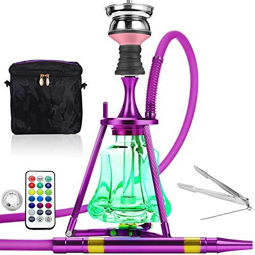 ADMY Hookah - Juego de shisha de 45 cm de aluminio + luz LED, pipa de agua, juego completo con cabezal de acero inoxidable, tubo de silicona, boquilla de aluminio (lila)
