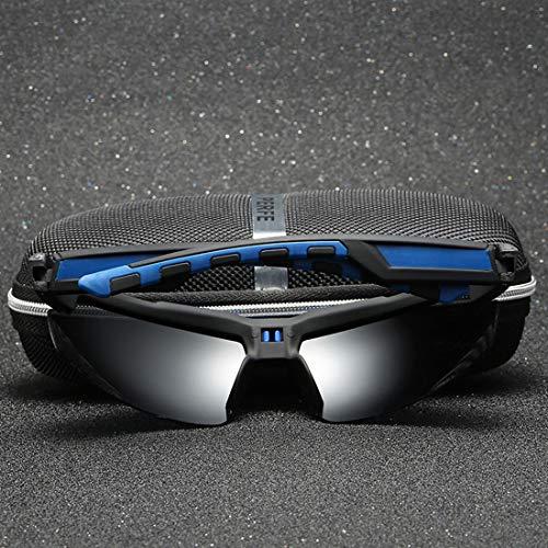 TEYUN Personalidad semi-sin montura estilo de alta definición visual polarizadas de los hombres gafas de sol deportivas de conducción de la protección UV400 Ciclismo Pesca Golf Correr ( Color : Blue )