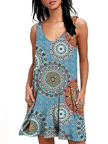O'Loré Sommerkleid Damen Kurze Elegant Strandkleid Casual Ärmellos T-Shirt Kleid Blumen Bedrucktes Kleider mit Taschen
