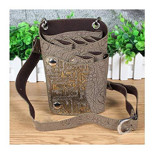 WANGXN Halter Holster Pouch Schere Tasche PU Leder mit Gürtel Friseur Werkzeugtasche,Brown