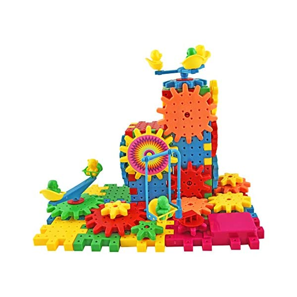 ambarscience- Bloques Divertidos - Juego Educativo de construcciones e Engranajes. 81 Piezas Coloridas para niños 3…