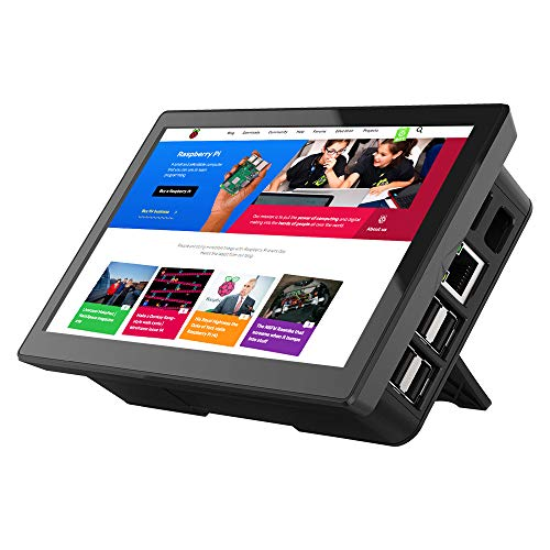 Raspberry Pi Bildschirm, cdisplay 7-Zoll-Touchscreen-Display mit Gehäuse, 1024x600 LCD IPS mit Typ C/HD-Anschlüssen, Kühllüfter, eingebaute Dual-Lautsprecher, All-in-One-Design für Raspberry Pi 4/3B+