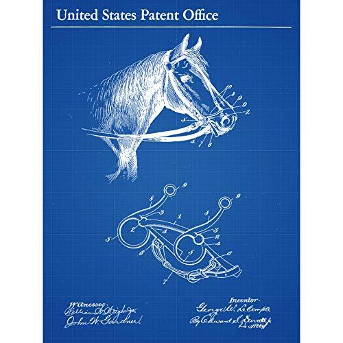 Le Compte Paard Rijden Hoofdstel Bit 1897 Patent Plan Omlijst Muur Art Print 18X24
