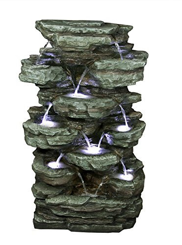 Alpine Corporation Multi-Tier Rock Pond Water Fountain with LED Lights - Outdoor Water Fountain for Garden, Patio, Deck, Porch - Yard Art Decor