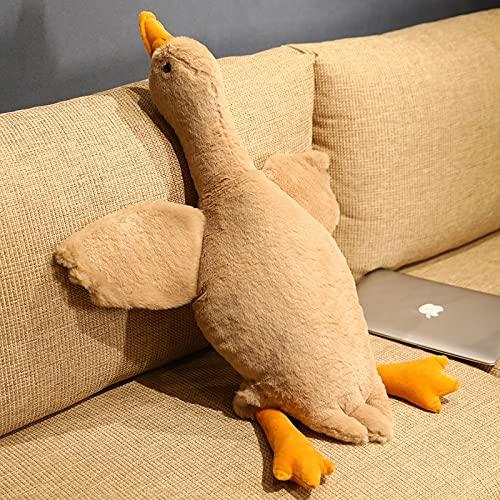Faux Bunny Fur kaczki pluszowa lalka PP bawełna wypchana leżąca zabawka w kształcie zwierzęcia biała szara brązowa poduszka na podłogę dekoracja sofy 90cm C