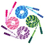 Fun-Here Jump Rope for Kids 4 Packs Fitness Workout Equipment Sports Plastic Soft Beaded Skipping Rope Adjustable Tangle Free Segmented Fitness Skipping Rope Training Keeping Fit for Women Men Kids