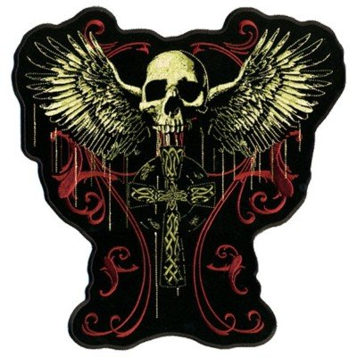 GOTHIC FLYING SKULL CELTIC CROSS Biker Vest BACK PATCH!
