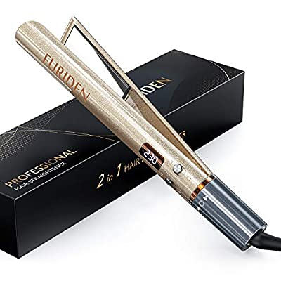 FURIDEN Hair Straightener and Curler, 2 in 1 Straightener and Curling iron, Titanium Flat Iron for Hair Professional
