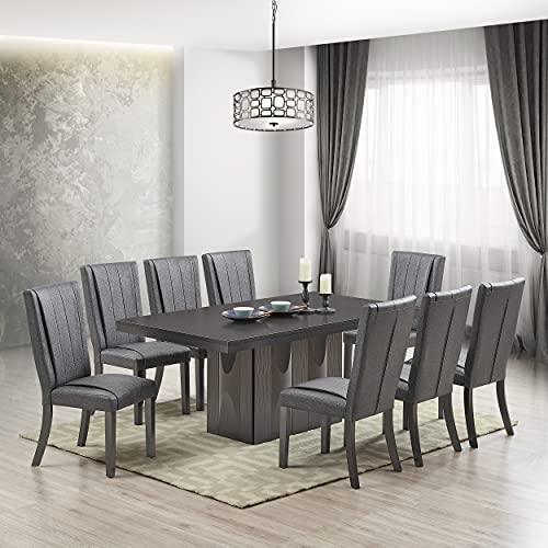 Kings Brand Furniture – Avenel 9-Piece Rectangular Pedestal Wood Dining Set, Table & 8 Chairs, Gray