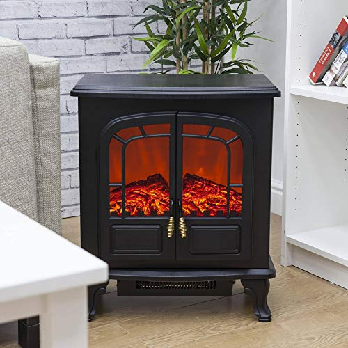 Power Way Electric Stove Fan Heater Bronze Style Handles Flame Effect Log Wood Burner FreeStanding LED Fire 2000W Black Cast Iron