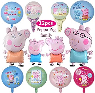 12 Pack Peppa Pink Pig Balloon Birthday Party Favour Supplies Foil Balloon