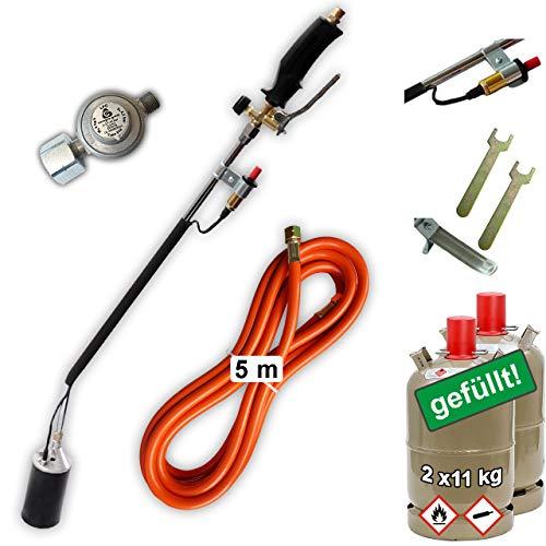 CAGO Abflammgerät mit Piezozündung Unkrautvernichter 68 kW mit Gas-Druck-Regler und 2X Propan-Gas-Flasche 11kg GEFÜLLT voll, Gasbrenner Dachbrenner Anzünder Anwärmbrenner