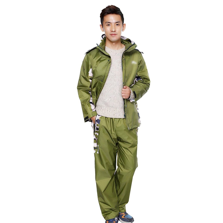 PENGFEI レインコートポンチョ 防水 ジャケット レインパンツ 分割タイプ ライディング 「ザ?クライム」 カモ、 恋人、 4色、 5サイズ (色 : Green, サイズ さいず : XL)