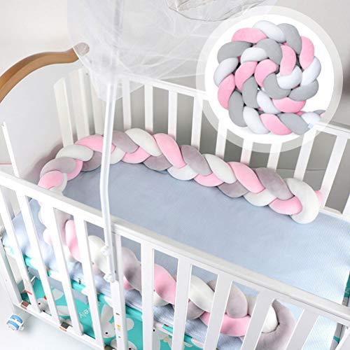 Funmo - Bettumrandung, Kinderbett Stoßstange, Baby Nestchen Bettumrandung Weben Kantenschut Kopfschutz Stoßfänger Dekoration für Krippe Kinderbett (Graues Rosa Weiß)