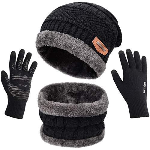 Maylisacc 3 Pcs Warm Winter Knit Hat Scarf and Glove Set for Men Women Tech Touchscreen Gloves Black