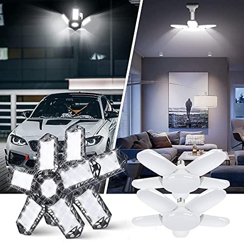 (2 Pack 80W and 2 Pack 100W) LED Garage Lights LED Shop Light Deformable LED Garage Light Screw in 5 Leaf Light Bulb Illuminator 360 Garage Lighting Fixtures for Barn Basement Workshop Workbench