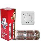 elektrische Fußbodenheizung FOXYMAT.SL RAPID (200 Watt pro m²) mit Thermostat QM.AG, 4.0 m² (0.5m x 8m)