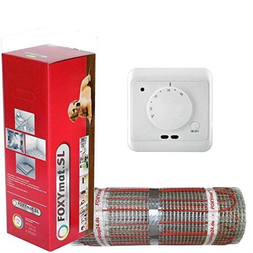 elektrische Fußbodenheizung FOXYMAT.SL RAPID (200 Watt pro m²) mit Thermostat QM-AG, 1.0 m² (0.5m x 2m)
