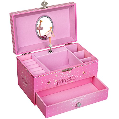 SONGMICS Joyero Musical, Caja de Joyas, Tema de Unicornio y Princesa, con Bailarina, Cajón, Espejo, Caja de música para niñas, Rosa, JMC009PK