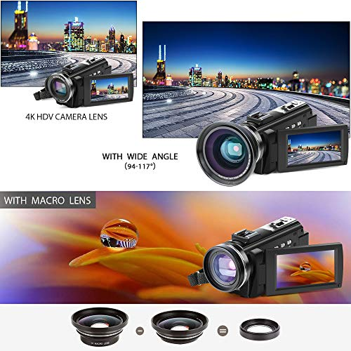 4K Camcorder, ACTITOP Video Camera 48mp Full HD 1080p WIFI IR Night Vision 16X Digital Zoom Video Camcorder with External Microphone, Wide Angle Lens, LED Video Light and Camera Bag