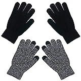 Pantalla táctil cálida de invierno unisex Guantes de punto Mitones de dedo completo para hombres Mujeres Guantes gruesos de punto cálido (Negro + Gris)