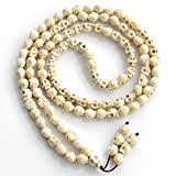 OVALBUY 8x10mm 108 Skull Beads Tibetan Buddhist Prayer Rosary Meditation Mala Halloween Beads