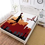 Oliven Fitted Sheet Queen Size,3D Bedding Cool Basketball Bedding Set Only 1 Pc,NBA Basketball Bed Fitted Sheet