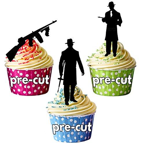 vorgeschnittenen Gangster Mob Silhouette 19201930–Essbare Cupcake Topper/Kuchen Dekorationen (12Stück)